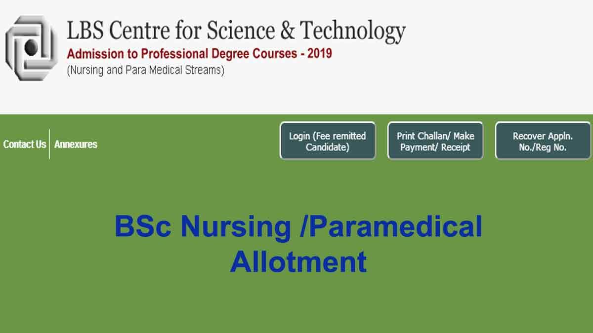 LBS Kerala BSc Nursing-Paramedical Allotment