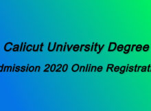 Calicut University Degree Online Admission 2020