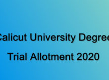 Calicut University Degree Trial Allotment 2020