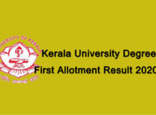 Kerala University Degree First Allotment Result 2020 [Check Result @ admissions.keralauniversity.ac.in]