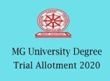 MG University Degree Trial Allotment 2020