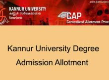 Kannur University Degree Second Allotment 2020