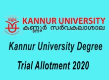 Kannur University Degree Trial Allotment 2020