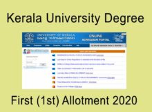 Kerala University Degree First Allotment 2020