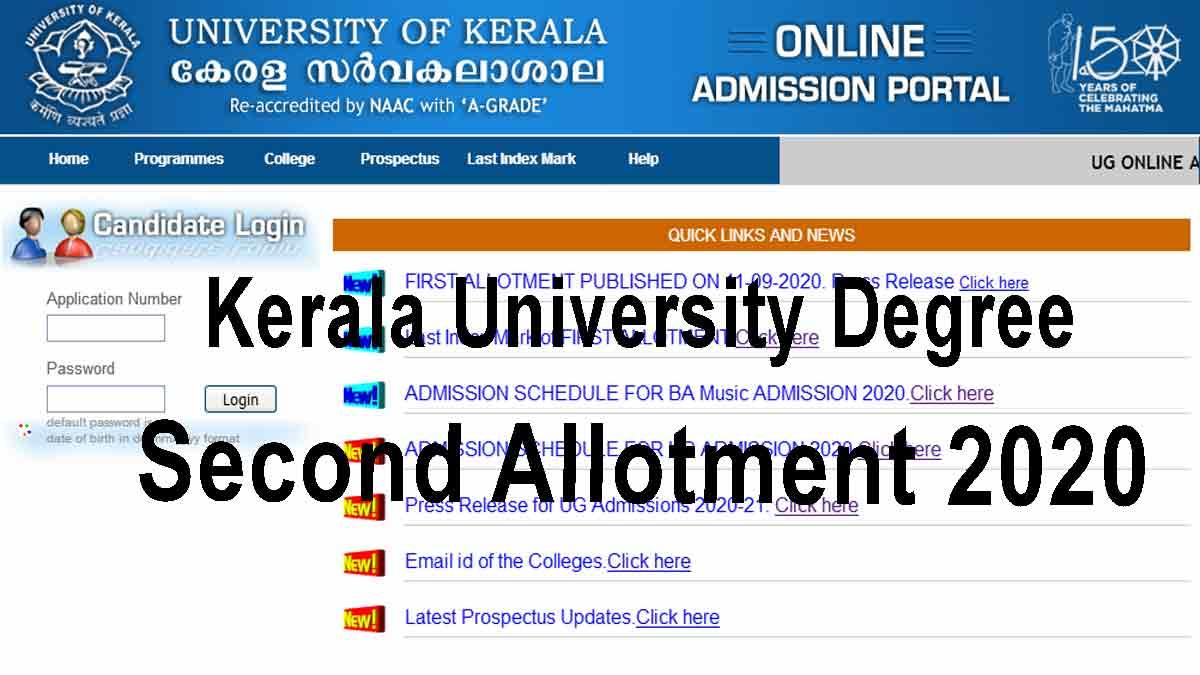 Kerala University Degree Second Allotment 2020