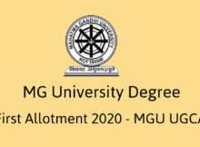 MG University Degree First Allotment 2020