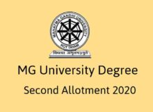 MG University Degree Second Allotment 2020