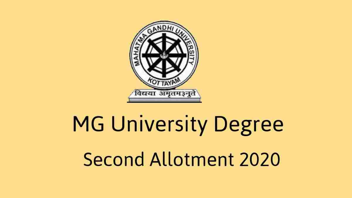 MG University Degree Second Allotment 2020