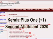 Kerala Plus One Second Allotment 2020