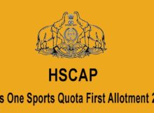 Plus One Sports Quota First Allotment 2020