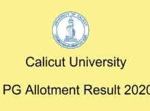 Calicu tUniversity PG Allotment 2020
