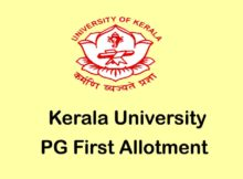 Kerala University PG First Allotment 2020