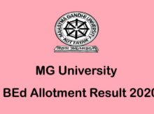 MG University BEd First Allotment