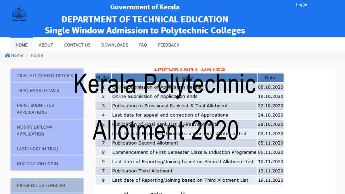 Kerala Polytechnic Allotment