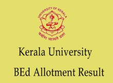 Kerala University BEd Allotment Result
